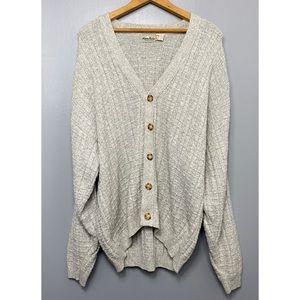 VINTAGE Waffle Knit Beige Cardigan Sweater